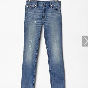 Gap 34R distressed resolution slim straight jeans